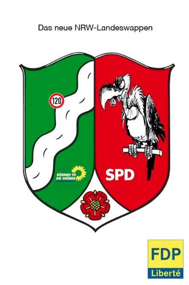 Wegen dieses auf der Facebook-Seite FDP-Liberté geposteten verunglimpften NRW-Landeswappens ermittelt der Staatsschutz