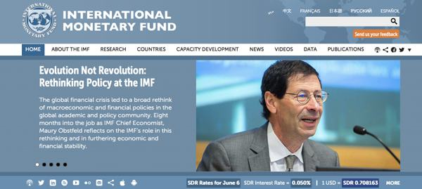 Screenshot der aktuellen IWF-Website: http://www.imf.org/external/index.htm