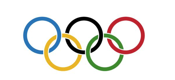 Die olympischen Ringe / Wikipedia:By Original author: Pierre de Coubertin (1863-1937) (Manual reconstruction by Denelson83) [Public domain], via Wikimedia Commons; https://upload.wikimedia.org/wikipedia/commons/a/a7/Olympic_flag.svg