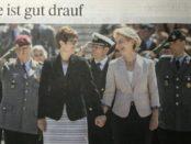 Annegret Kramp-Karrenbauer und Ursula von der Leyen bei der Übergabe der Amtsgeschäfte / Abfotografiert aus der FAZ-Ausgabe vom 18. Juli 2019, Seite 3