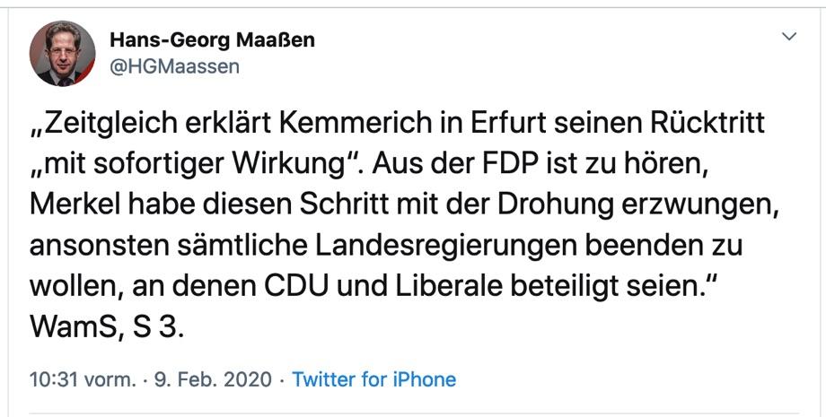 Tweet von Hans-Georg Maaßen