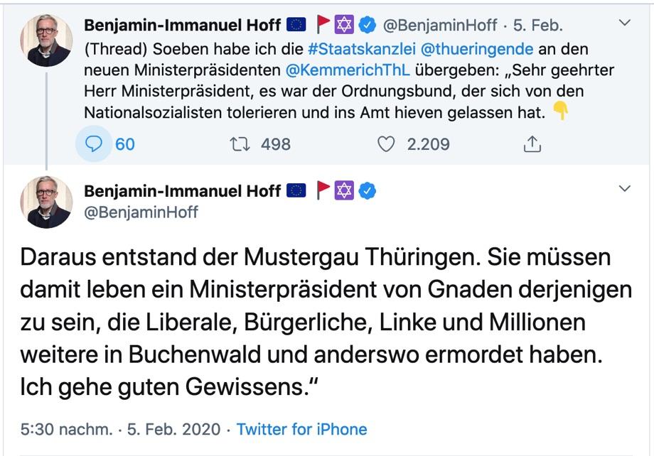 Tweet von Benjamin Hoff an Thomas Kemmerich