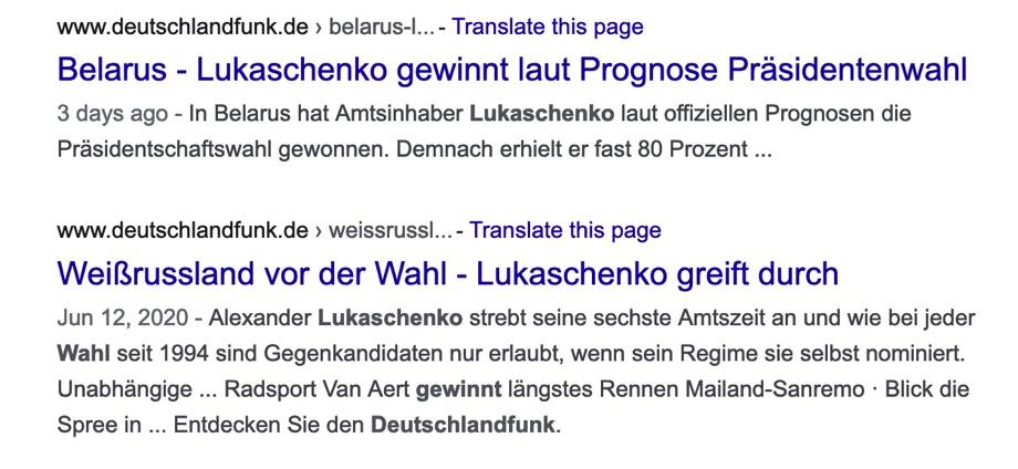 Screenshot einer Google-Suche zur Berichterstattung im Deutschlandfunk