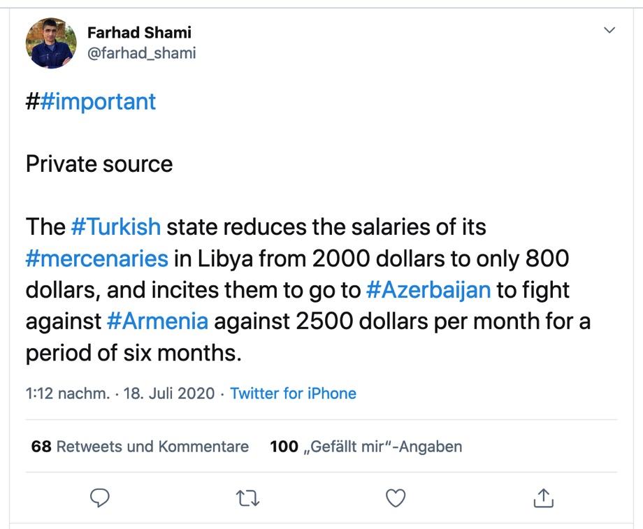 Tweet von Farhad Shami / Quelle: Twitter