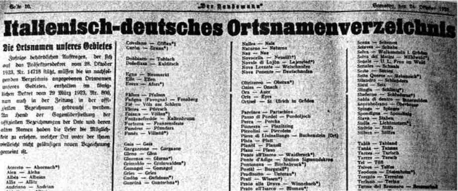 """Mitteilung der Zeitung """"Der Landsmann"""" (zuvor """"Der Tiroler"""") vom 24. Oktober 1925 über den zwingend vorgeschriebenen Gebrauch der italienischen Ortsnamens-Erfindungen.Foto: Archiv Golowitsch"""