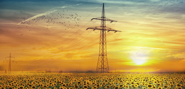 Stromverbrauch / Strommasten / Quelle: Pixabay, lizenezfreie Bilder, open librarty: ELG21; https://pixabay.com/de/photos/landschaft-sonnenblumen-himmel-4813836/