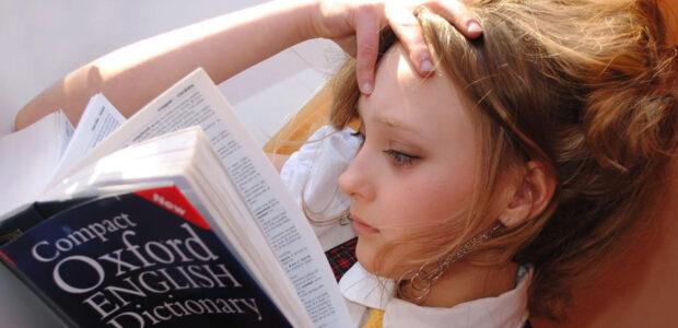 Abiturienten / Quelle: Pixabay, lizenzfreie Bilder, open library: libellule; https://pixabay.com/de/photos/m%c3%a4dchen-englisch-w%c3%b6rterbuch-lesen-2771936/